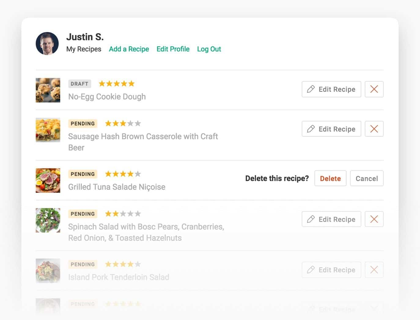 Recipe Plugin for WordPress - User profiles.